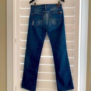 7 for All Mankind Boy Cut Jeans, sz 28. Distressed